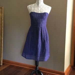 J.CREW HAYLEY STRAPPLESS EYELET INDIGO BLUE DRESS